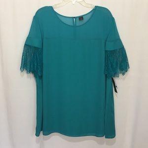 Worthington Lace Sleeve Sheer Blouse Top Size 3X